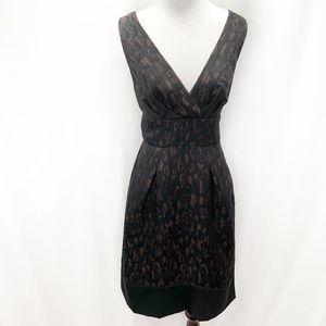 BCBGMAXAZRIA Black Cheetah Print A-Line Dress